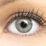 GLAMLENS lentillas de color -gris Mailand Grey + contenedor. 1 par (2 piezas) - 90 Días - Sin Graduación - 0.00 dioptrías - blandos - Lentes de contacto grises de hidrogel de silicona