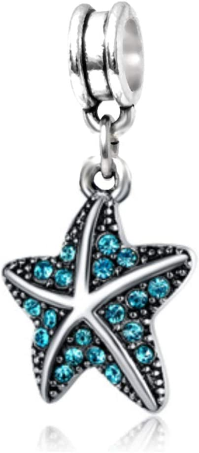 J&M Dangle Blue Starfish with Crystals Charm Bead for Charms Bracelets