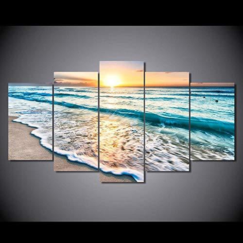LWJPD Cuadro en Lienzo Moderno Viaje 5 Paneles Playa Amanecer Lienzo Pinturas Pared Arte Imágenes Impresiones Y Póster para Sala De Estar Decoración del Hogar