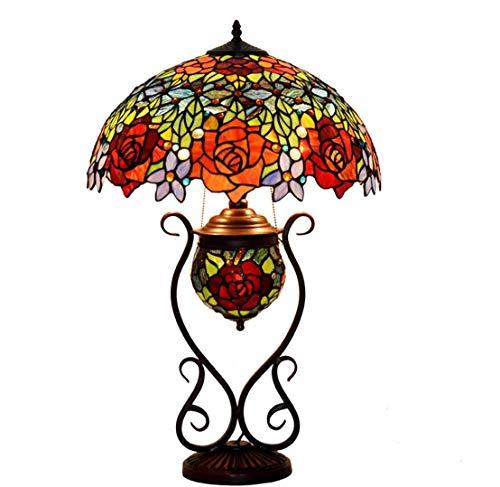 Tiffany Style Lámpara De Mesa De Color Hoja De Cristal De Colores Zócalos De Metal Hecho A Mano Rosa Patrón Floral Decorativo Lámpara De Mesa