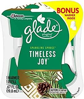 Glade Plugins Scented Oil Air Freshener Refill Plus Free Warmer, Timeless Joy, 0.67 Ounce