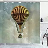 ABAKUHAUS Steampunk Duschvorhang, Luftballon & Sterne, mit 12 Ringe Set Wasserdicht Stielvoll Modern Farbfest & Schimmel Resistent, 175x240 cm, Mehrfarbig