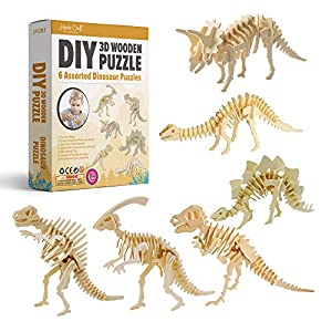 Hands Craft DIY 3D Wooden Puzzle Bundle Set, Pack of 6 Dinosaur Brain Teaser Puzzles | Educational STEM Toy | Safe and Non-Toxic Easy Punch Out Premium Wood | (JP2B1) by Hands Craft Us Inc