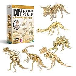 4. Hands Craft DIY 3D Wooden Dinosaur Puzzle Set (6 pack)