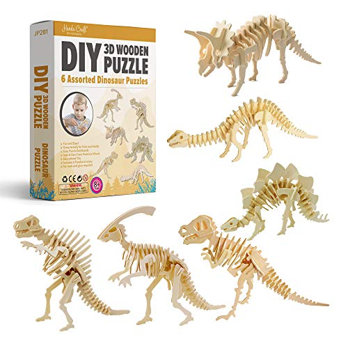3D Dinosaur Puzzles, Educational Toy for Kids and Adults, STEM Learning (6 Pack)