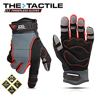 Glove Station The Tactile Series Multi-Purpose Fingerless Safety Work Gloves - Shrink Resistant, Tough, Enhanced Grip, 1 Pair
