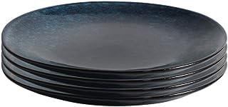 ProCook Vaasa - Vaisselle de Table en Grès - 4 Pièces - 24cm - Assiette à Salade - Glaçure Réactive - Bleu
