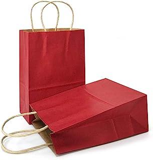 Gift Bags Kraft Paper Bags with Handles (Dark Red, 12 Pcs, 15cm X 7.9cm X 21cm )