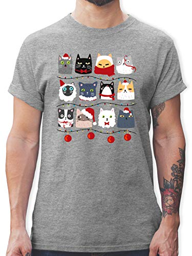 Weihnachten & Silvester Geschenke Party Deko - Katzen zu Weihnachten - 3XL - Grau meliert - Katze Weihnachten - L190 - Tshirt Herren und Männer T-Shirts