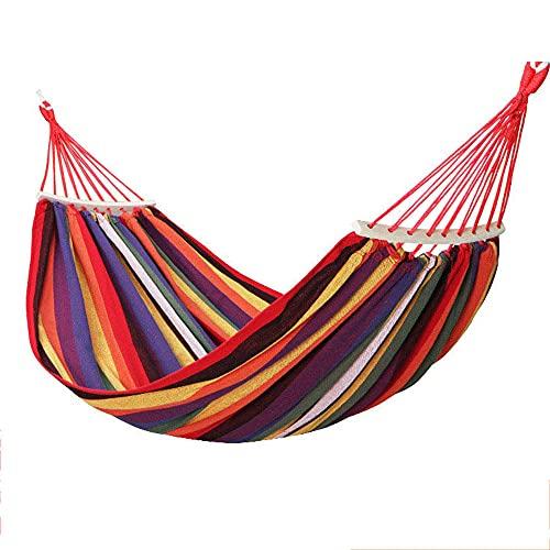 Hamaca para Acampar de algodón para jardín,Hamaca de Lona para Acampar al Aire Libre, Ocio, Columpio, prevención de vuelcos, Rojo, 190X150CM,Hamaca Colgante Ultraligera