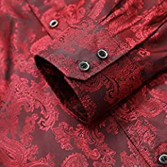 Allthemen Men's Paisley Shirt Jacquard Silk Shirts for Men Dress Shirts Long Sleeve Button Down Collar Casual Tuxedo Shirts Wine Red L #4