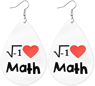 Faux Leather I Love Math Earrings Pair