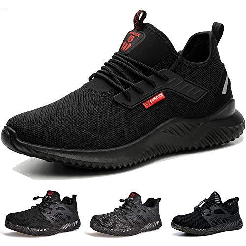 SUADEEX Arbeitsschuhe Sicherheitsschuhe Herren Damen S3 Leicht mit Stahlkappe Schutzschuhe Sportlich Schuhe Anti-Smashing Anti-Piercing Atmungsaktiv Schwarz Gr.42