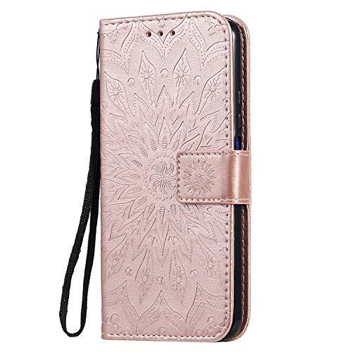 KKEIKO Hülle für Huawei Nova 5T, PU Leder Brieftasche Schutzhülle Klapphülle, Sun Blumen Design Stoßfest Handyhülle für Huawei Nova 5T - Roségold