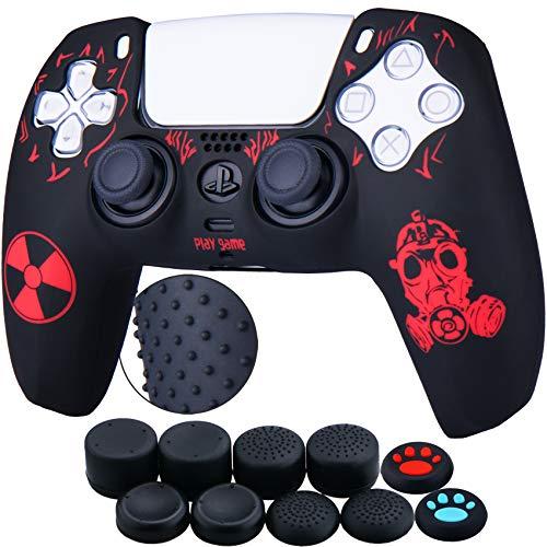 YoRHa 10 fundas de silicona para Sony PS5 Dualsense Controller, color rojo (adiation Red) con agarre Pro para pulgar