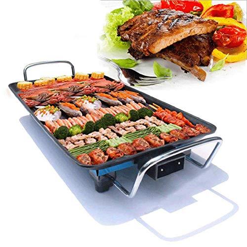 Barbacoa de mesa eléctrica sin humo Teppanyaki, plancha antiadherente con temperatura ajustable de 1500 W para interior o exterior (68 x 28 cm)