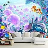 Tapeten,Unterwasserwelt Rosa Quallen Tier Serie Anpassen 4D