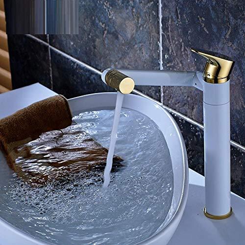 Grifo de baño Grifo de lavabo Caliente Y Agua Fría Baño Grifo De Agua Mezclada Solo Agujero Completo Baño De Cobre Baño Giratorio Grifo Galvanoplastia Sección Corta ( Color : Platinum High )