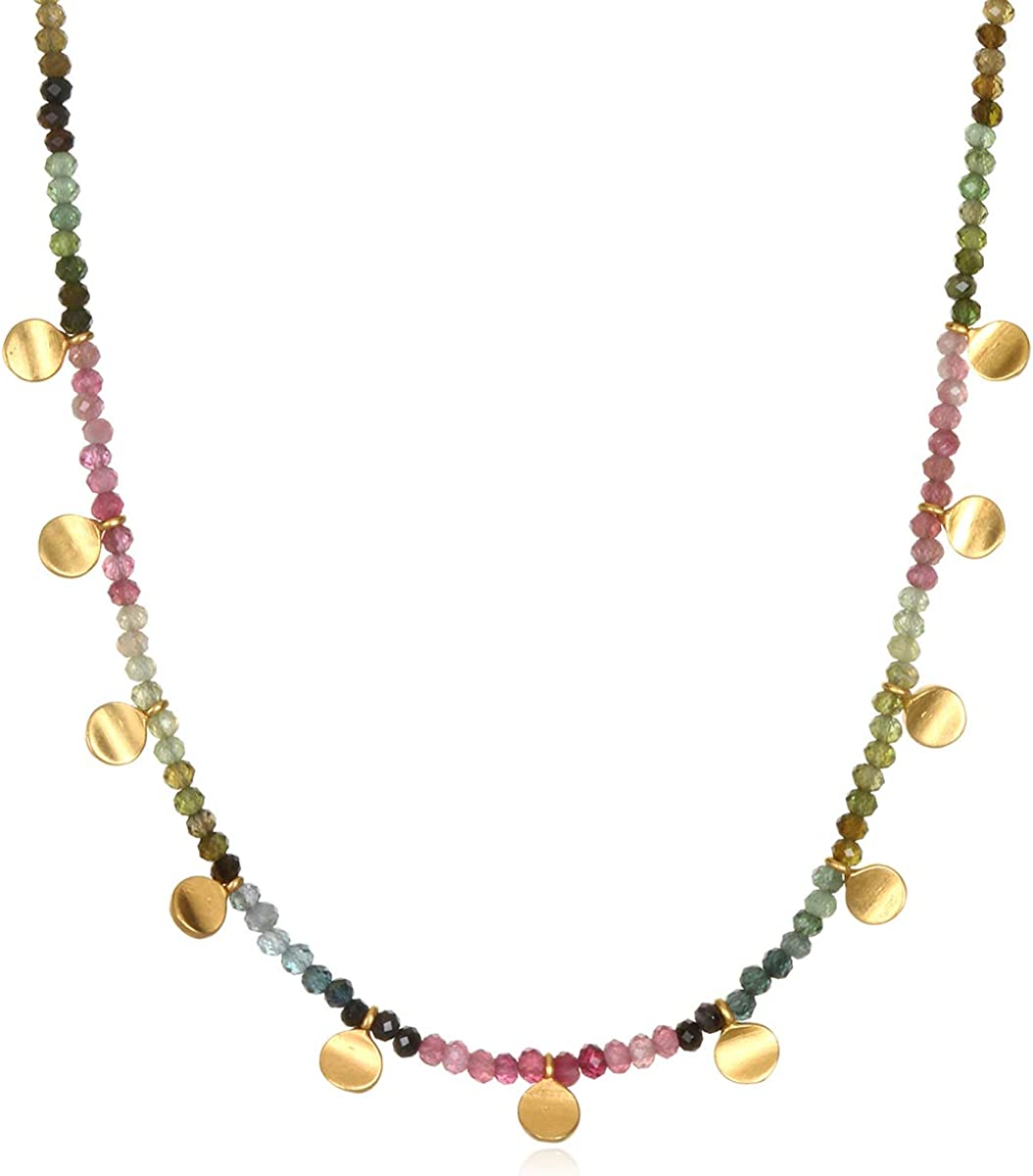 Satya Jewelry Tourmaline Gold Moon Choker Necklace 14-Inch +2 Extension, Multi, One Size