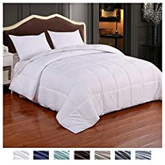 ONE COMFORTER, TWO MOOD. The reversible comforter king can be reversed depending on your bed sheets and your mood. There are 4 colors available, dark gray and light grey, navy blue and light blue, chocolate brown and beige, white square embossed. The...