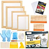 Caydo 31 Pieces Screen Printing Starter kit Include 4 Different Size of Wood Silk Screen Printing Frame with 110 Mesh, Squeegees, Inkjet Transparency Film, Ink Knife, Gloves and Mask Tape