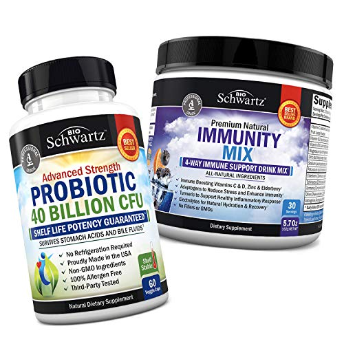 Probiotic 40 Billion CFU + Immunity Drink Mix with Vitamin C 1000 mg, Elderberry & Zinc - Berry Flavored Powder - Supports Whole Body Health