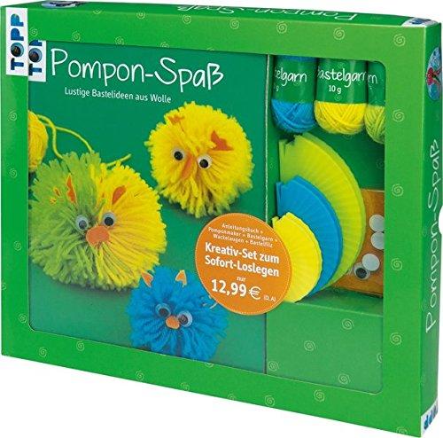 Kreativ-Set Pompon-Spaß: Buch mit Grundanleitungen und Bastelideen und Material für 3 Pomponmonster: 3 Pomponmaker, 30g Bastelgarn in 3 Farben, Wackelaugen und Bastelfilz (Buch plus Material)
