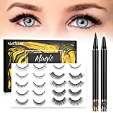 Glue Lash, Reusable No Magnetic False Lashes Set, Strongest Hold and Natural Look Fake Lashes, easy to wear 3D Eyelashes With Free Tweezers for Party,Daily,Wedding,Date