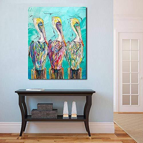 YuanMinglu Pelican Fashion Art DREI Arten von ölgemälde Wand Wohnzimmer Dekoration Wand...