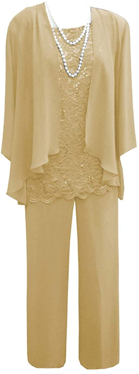 Fitty Lell Women's 3 Pieces Elegent Mother of Bride Pant Suits Long Sleeves Evening Gown with Jacket for Wedding