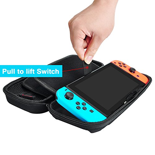DAYDAYUP Hestia Goods Switch Carrying Case Compatible with Nintendo Switch, with 20 Games Cartridges Protective Hard Shell Travel Carrying Case Pouch for Nintendo Switch Console & Accessories, Black