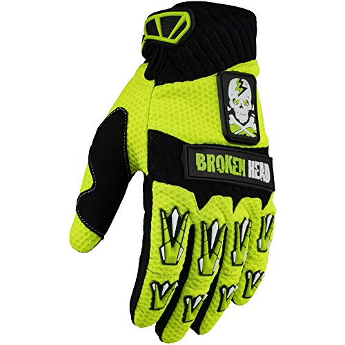 Broken Head MX-Handschuhe Faustschlag - Motorrad-Handschuhe Für Motocross, Enduro, Mountainbike - Neon-Gelb (M)