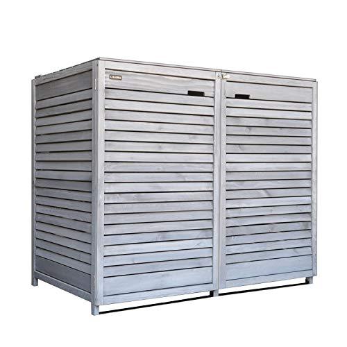 Fairpreis-design Mülltonnenbox Mülltonnenverkleidung 2 Tonnen Holz 120 L - 240 L hell-grau inkl. Rückwand vorimprägniert vormontiert Müllcontainer Mülltonnenschrank Mülltonne Mod.Adr.