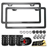 Black Carbon Fiber License Plate Frame- Rust Proof Aluminum Slim Car Tag Holder, Heavy Duty Plate Mount Kit- Stainless Steel Screws, Caps, Rattle Proof Pads, Tire Valve Cover, 2 Pack for Front & Rear