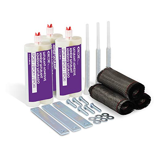 DRICORE PRO Concrete Repair Bowed Wall Kit (10') | Best 10 Foot All in One Epoxy and Carbon Fiber Pack for Reinforcing Bowing Foundations, Walls, Basements, Cement, Crawlspace, More