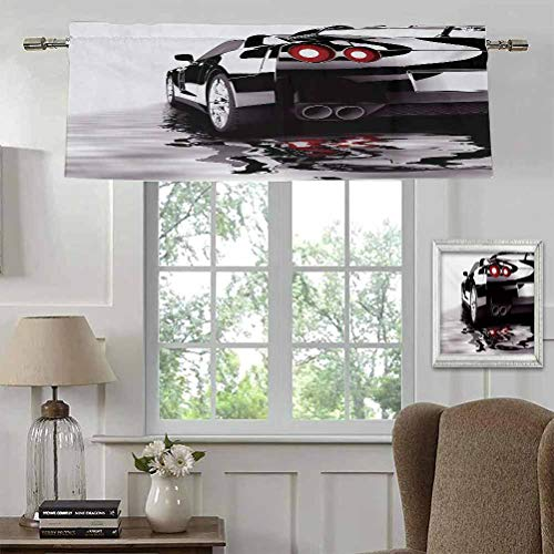 "Kitchen Window Valance Cars Light Reducing Curtains Valance Modern Black Car with Water Reflection Prestige Fast Engine Performance Lifestyle for Kitchen/Cafe Rod Pocket Panel 42""W x 18""L"