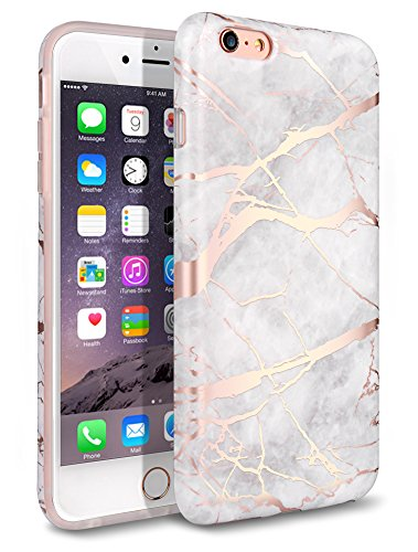 WORLDMOM for iPhone 6 Plus Case, for iPhone 6S Plus Case, Rose Gold White Marble Design,Cute Marble Pattern Slim TPU Soft Rubber Shockproof Protective Case for iPhone 6 Plus / 6S Plus (Marble)