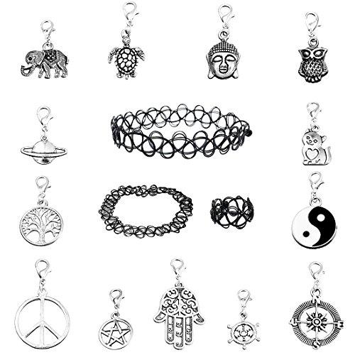 MJARTORIA Damen Choker Set 3 Tattoo Ketten Halsketten 13 Vertauschbar Anhänger Silber Farbe (Oktoberfest)