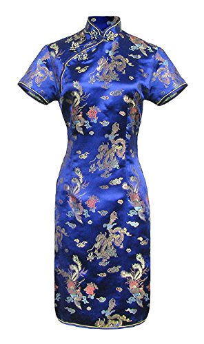 Vestido chino corta azul cheongsam mangas cortas Qipao motivo dragón tamaño 40