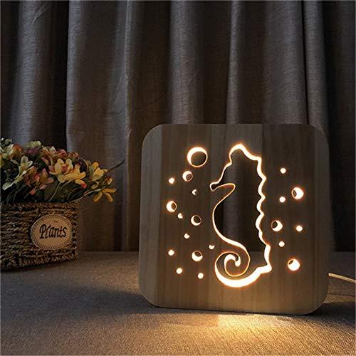 Solo 1 pieza Luz de noche LED de madera tallada Diseño de caballito de mar 3D Luz cálida Luz de noche de energía USB como decoración de habitación de regalo de cumpleaños