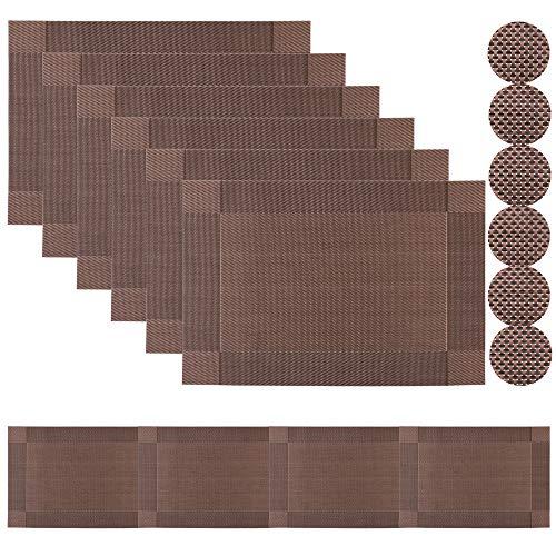 Famibay Braun Platzsets und Tischläufer 180cm Abwaschbar Hitzebeständig Tischsets mit Untersetzer 6er Set für Tisch