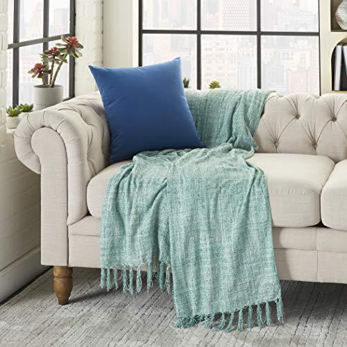 Nourison Outdoor Pillows Color Block Blue Decorative Throw Pillow , 18u0022X18u0022