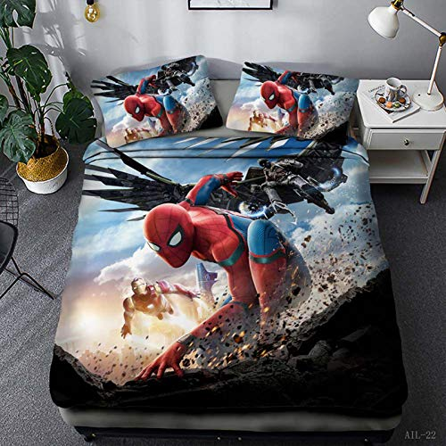SSIN Marvel Comics Avengers Duvet Cover, Spiderman Captain America Hulk Design, Printed Bedding Set with Pillowcase, for Children and Teenagers (08.220 x 260 cm)