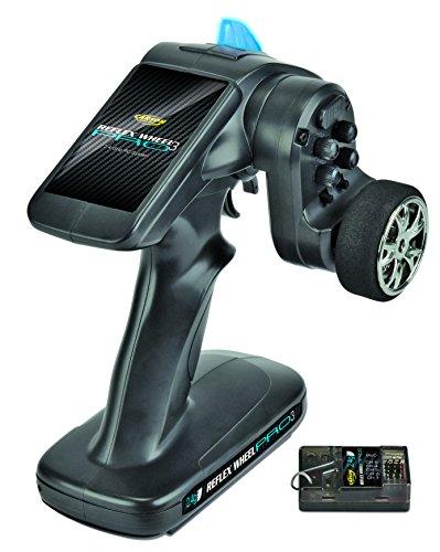Carson 500500053 FS 2K Reflex Wheel Pro 3 2.4G Bec-Accessoires de véhicule, compatibles pour Kits, modélisme, y Compris récepteur, RC, 2 télécommandes 4 GHz, Noir