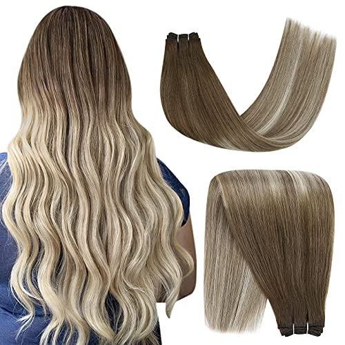 YoungSee Remy Weft Hair Extensions Balayage Dark Brown to Blonde with Dark Ash Blonde Hair Weft Extensions Sew in Remy Hair Double Weft Hair Extensions 18in 100g