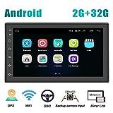 Android Coche Radio 2 DIN GPS CAMECHO 2G+32G 7 Pulgadas Pantalla táctil Completa Bluetooth WiFi Reproductor de Radio FM Duplicar Pantalla para teléfonos iOS Android + Cámara de Respaldo