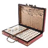 LIUXIN 【2021 New】 Mini Mah-Jong Set, Tradiciones Chinas con Manual en IngléS, Mahjong Juego de Mesa (Archaistic Leather Box) para Uso Exteriores, Hogares, Hoteles