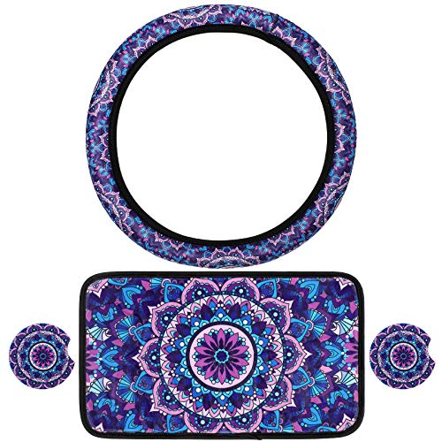 BBTO 4 Pieces Purple Mandala Lotus Car Accessories, Vehicle Center Console Armrest Cover Pad, 2.75 Inch Car Coasters with Universal Steering Wheel Cover for Women Girls