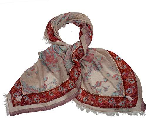 Rubicon MAKE UP Damenschal, Damentuch. Sommerschal, Sommertuch. Baumwolle und Seide, weich auf der Haut, Farbe: rosa