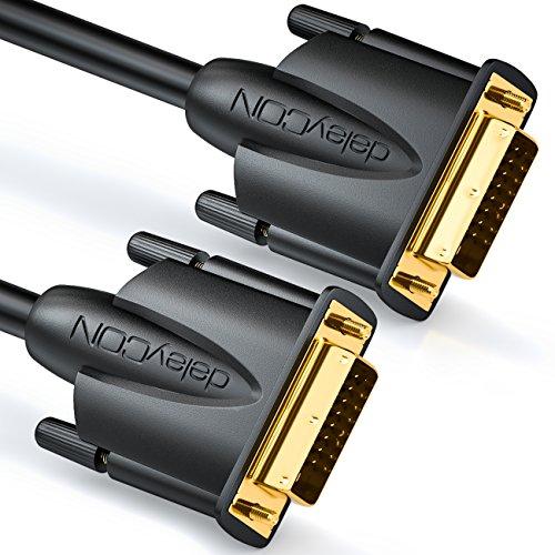 deleyCON 10m DVI Kabel Dual Link 24+1 HDTV Auflösungen bis 2560x1080 Full HD 1080p 3D Ready DVI-D Dual Link vergoldete Kontakte - Schwarz